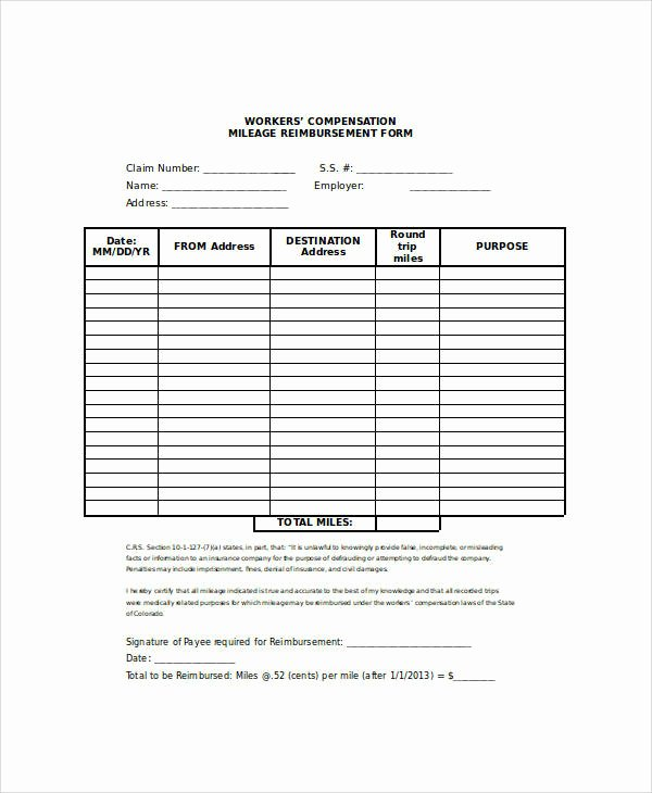 Mileage Reimbursement form Template Inspirational 26 Sample Claim forms In Word