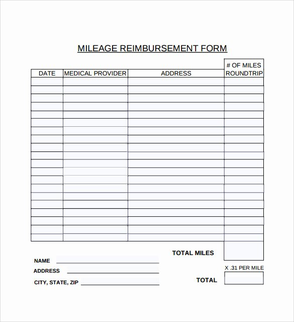 Mileage Reimbursement form Template New Sample Mileage Reimbursement form 8 Download Free