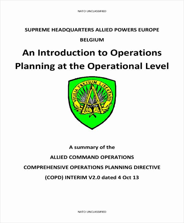 Military Operations Plan Template Beautiful 10 Military Operational Plan Templates Pdf