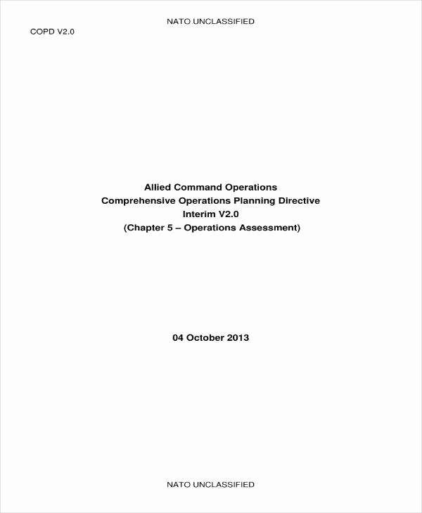 Military Operations Plan Template Lovely 10 Military Operational Plan Templates Pdf
