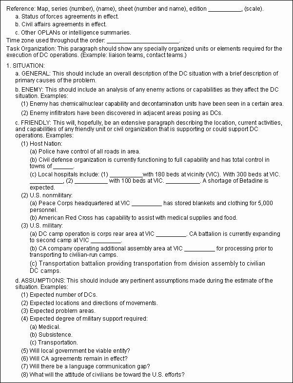 Military Operations Plan Template New Fm 3 05 401 Appendix I Techniques In Dislocated Civilian