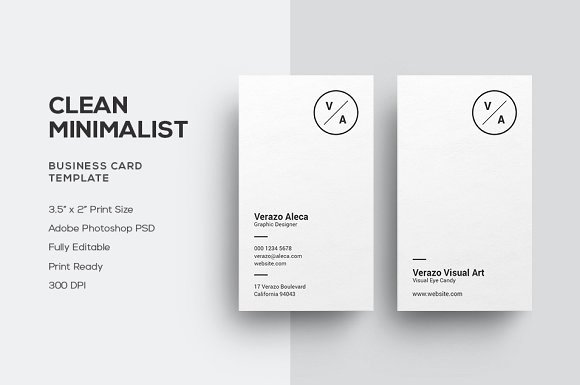 Minimalist Business Card Template Elegant Clean Minimalist Business Card Business Card Templates
