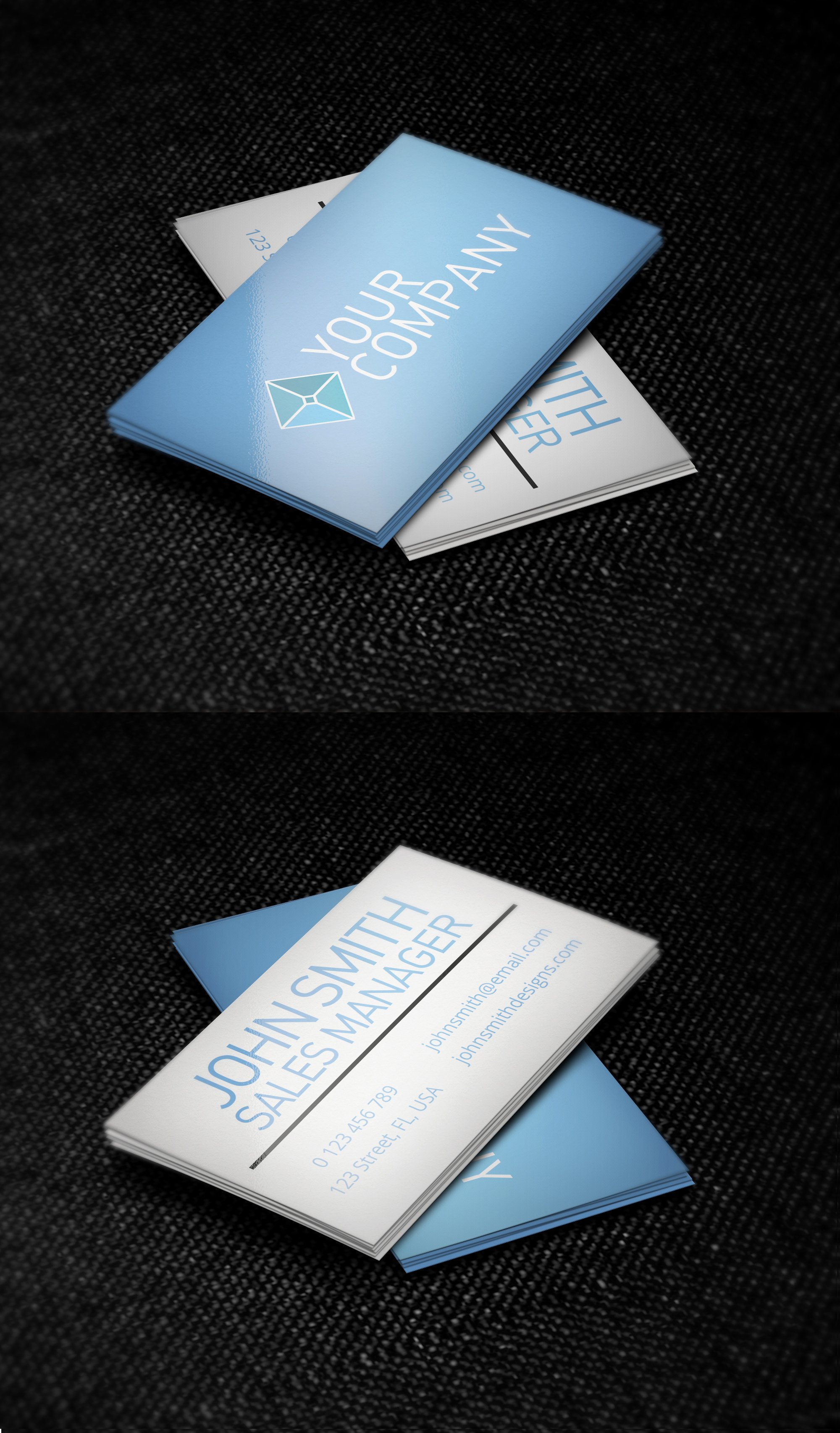 Minimalist Business Card Template New Blue and White Minimalist Business Card Template by