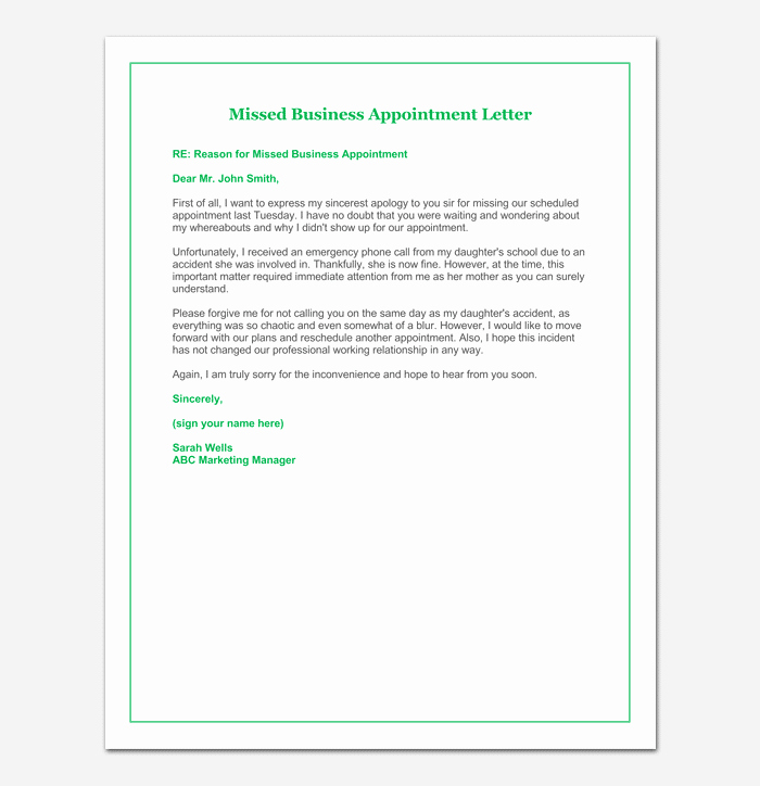 Missed Appointment Email Template Elegant Missed Appointment Email Template