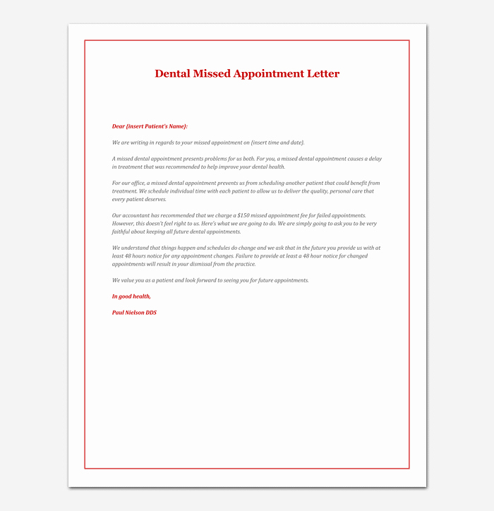 Missed Appointment Email Template Luxury Missed Appointment Letter 10 Sample Letters