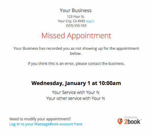 Missed Appointment Email Template Luxury Sending Automated Appointment Emails to Clients – Massagebook