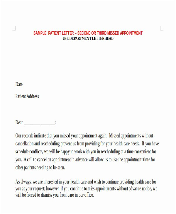 Missed Appointment Email Template New 6 Missed Appointment Letter Templates Free Samples
