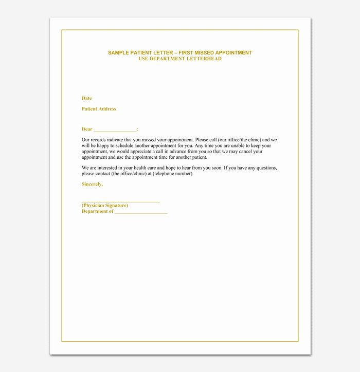 Missed Appointment Email Template Unique No Show Fee Letter Template Call Termination Example