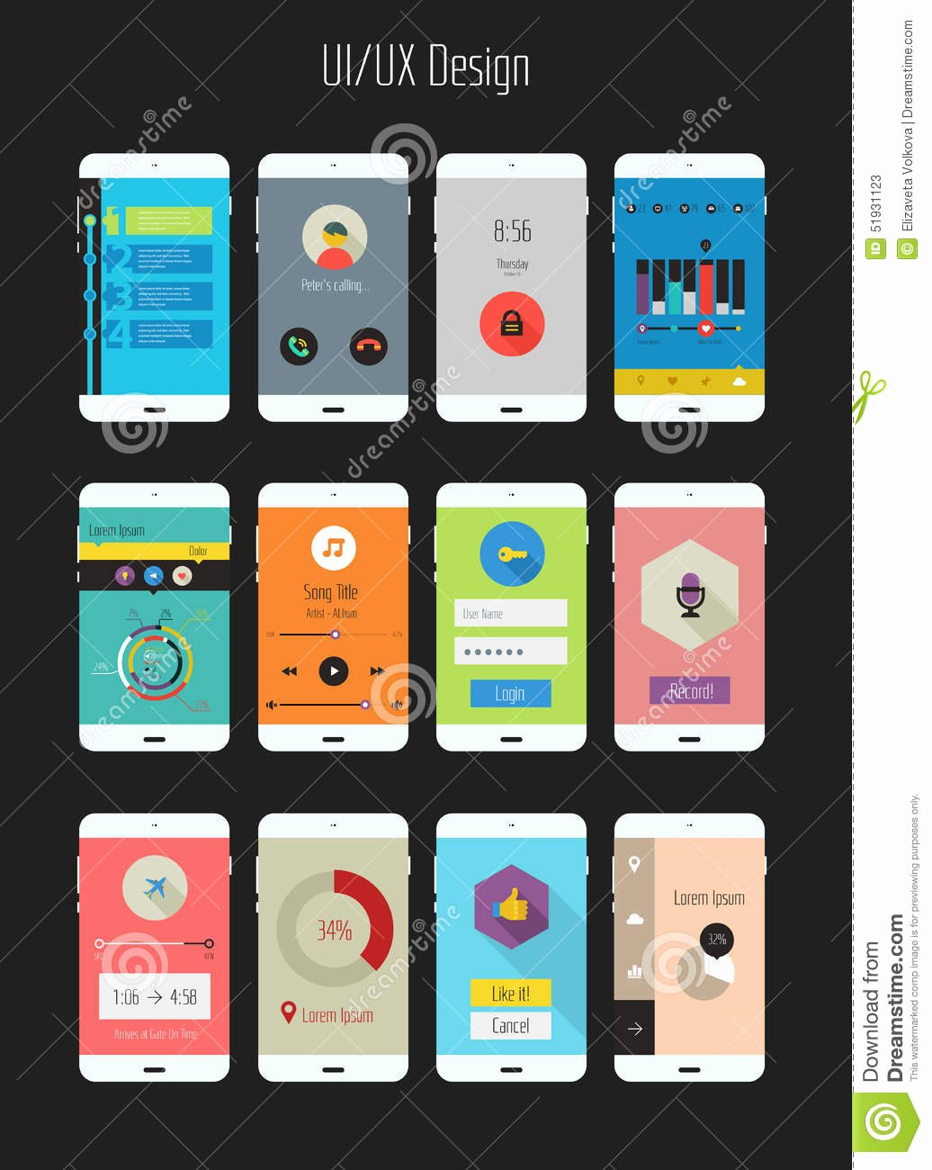 Mobile App Design Template Beautiful Flat Ui Ux Mobile Apps Kit Stock Vector Illustration