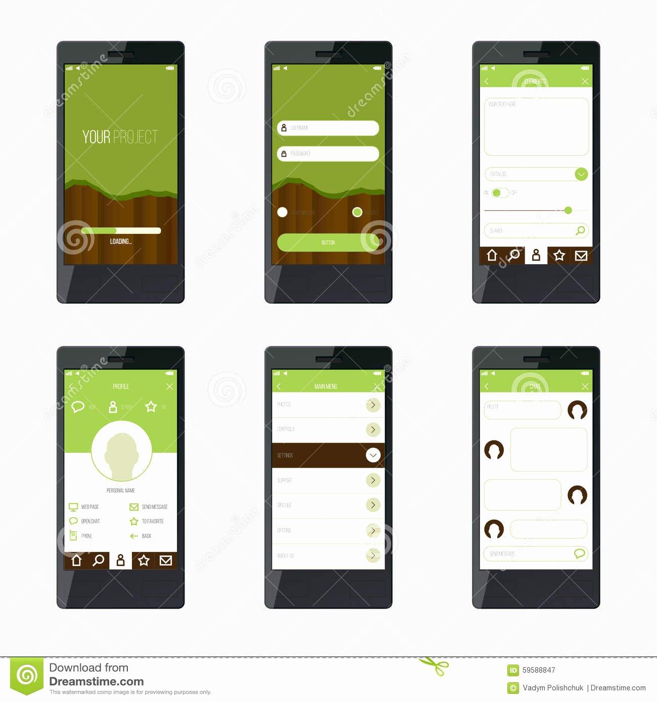 Mobile App Design Template Beautiful Template Mobile Application Interface Design Stock Vector