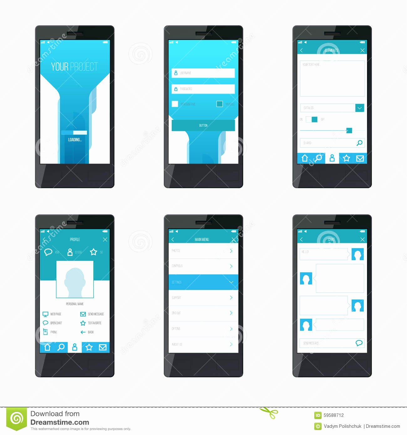 Mobile App Design Template Beautiful Template Mobile Application Interface Design Stock Vector