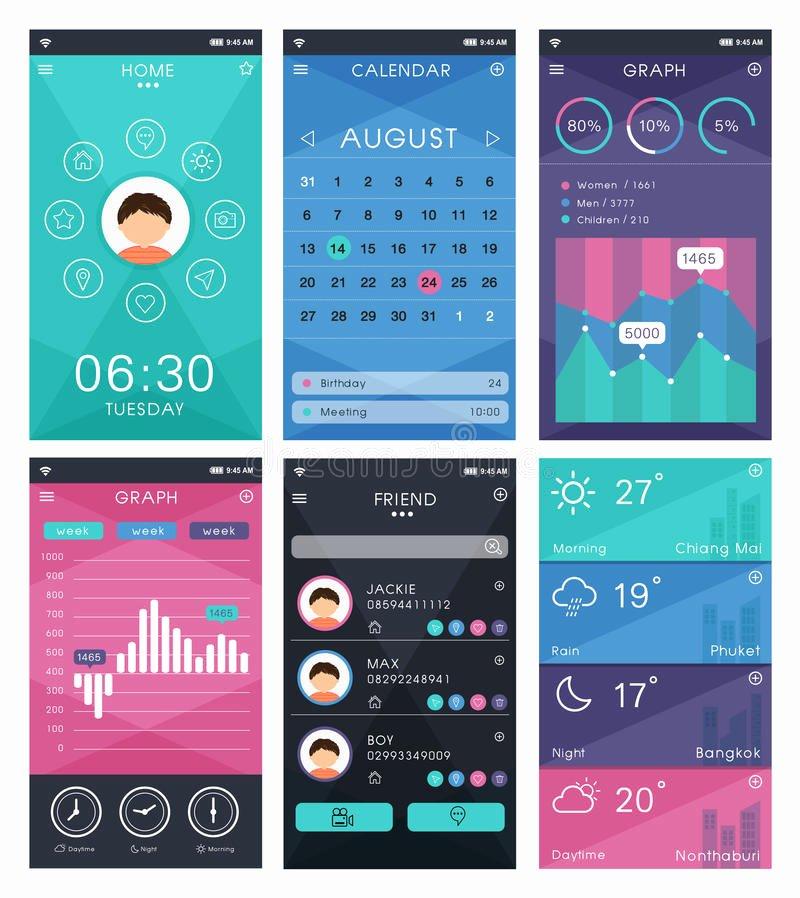 Mobile App Design Template Fresh Template for Mobile App Design Stock Vector Illustration