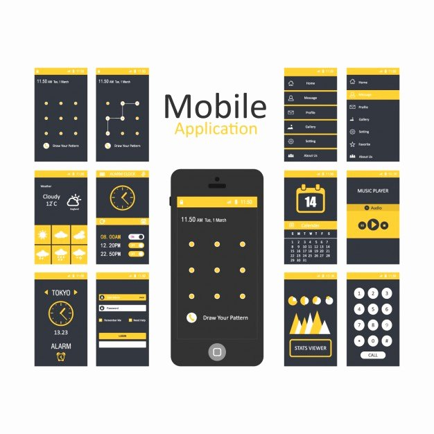 Mobile App Design Template Inspirational Mobile Applications Templates Vector
