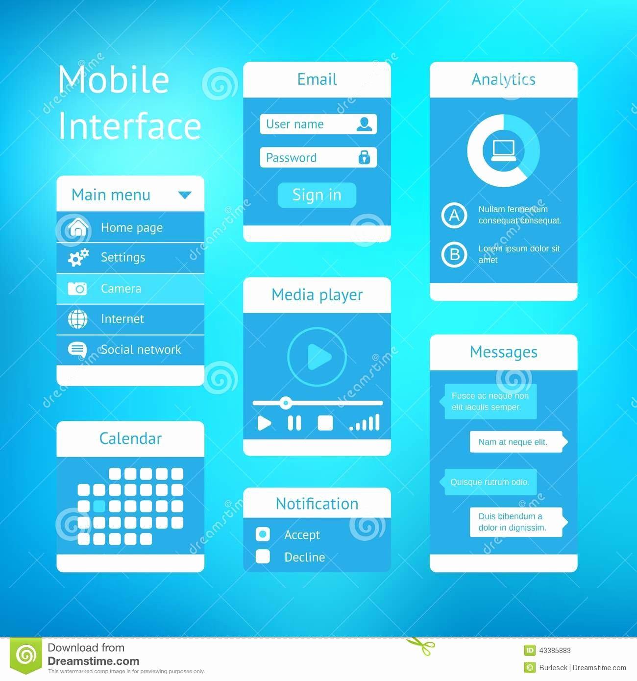 Mobile App Design Template Luxury Vector Interface Template Design Stock Image