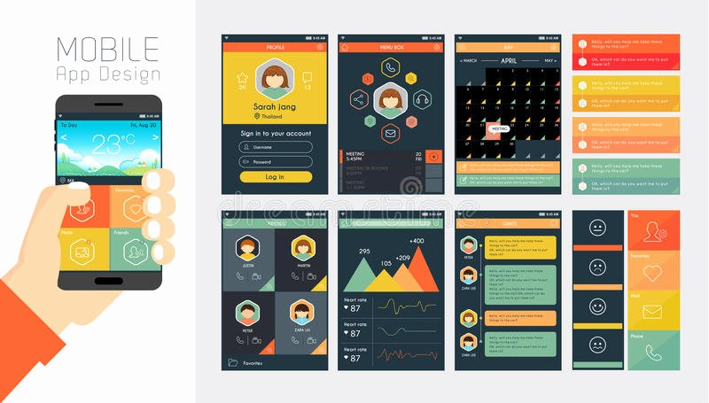Mobile App Design Template New Template for Mobile App and Website Design Stock Vector