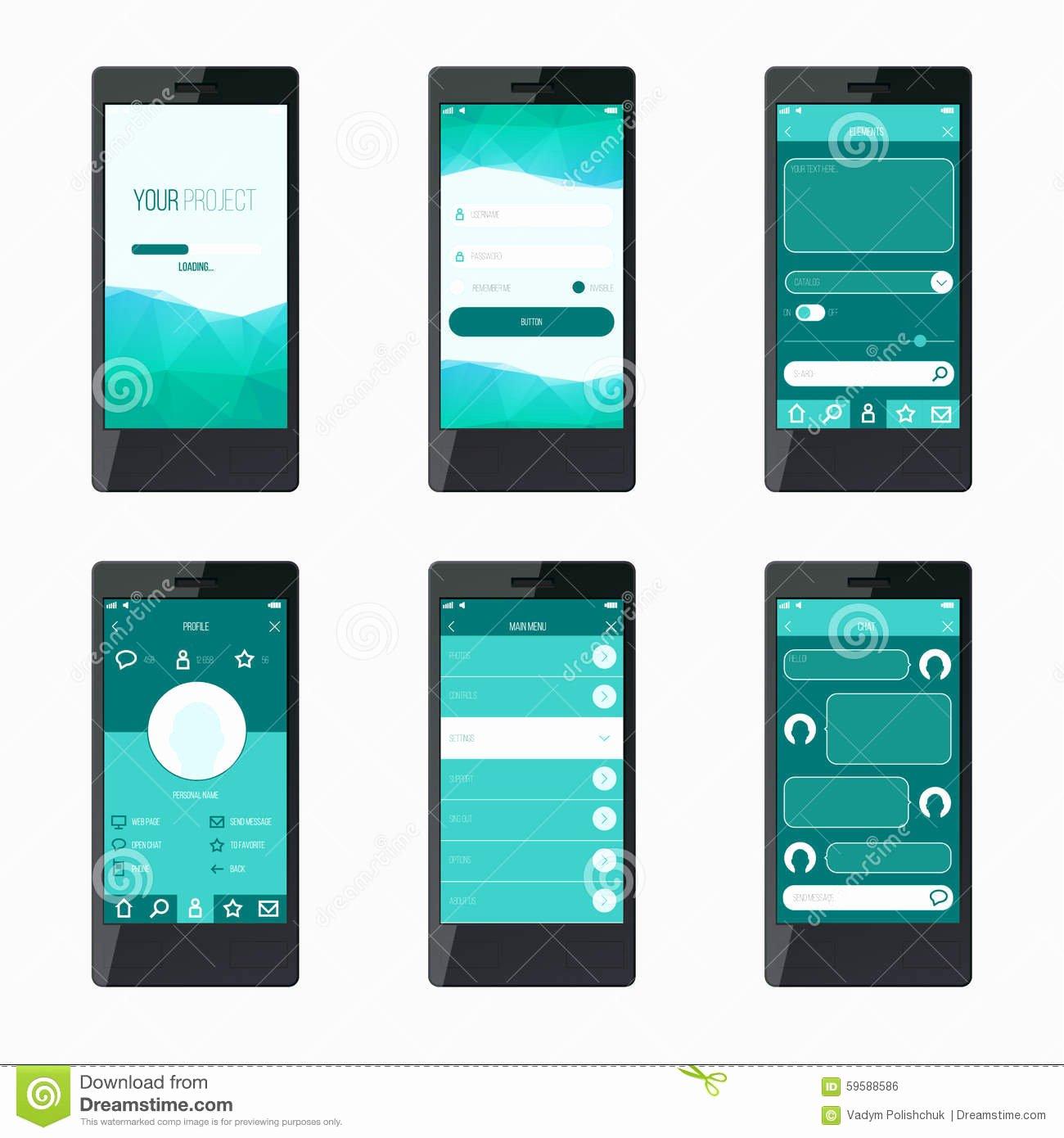 Mobile App Design Template Unique Template Mobile Application Interface Design Stock Vector