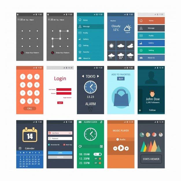 Mobile Apps Design Template Fresh Mobile Screenshots Templates Vector