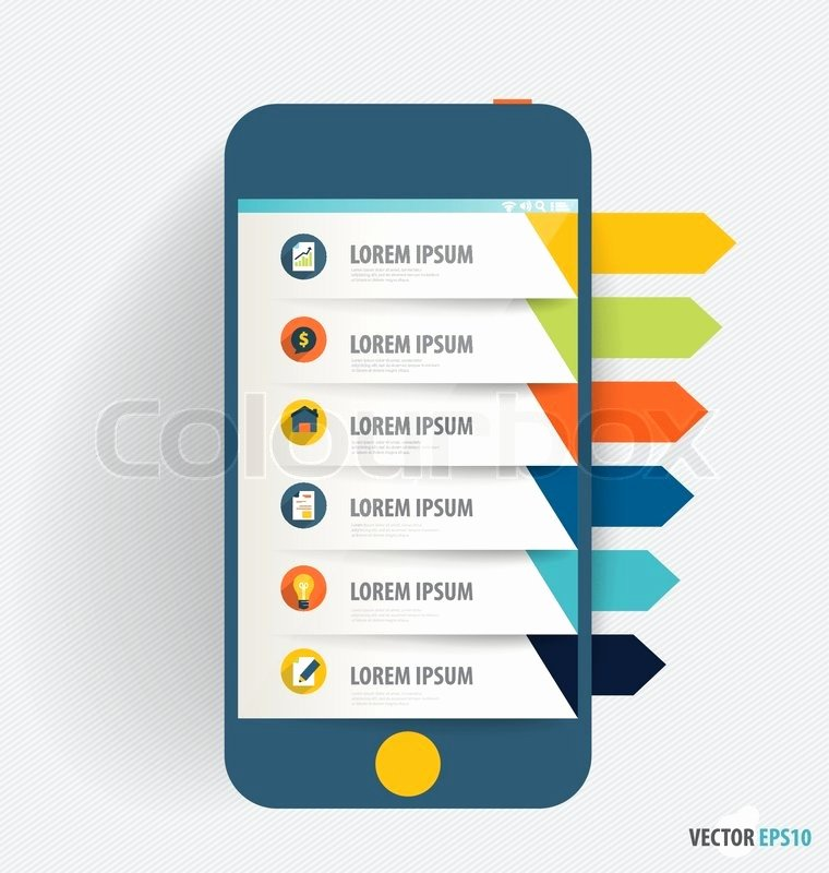 Mobile Apps Design Template Fresh touchscreen Device with Infographics Paper Template