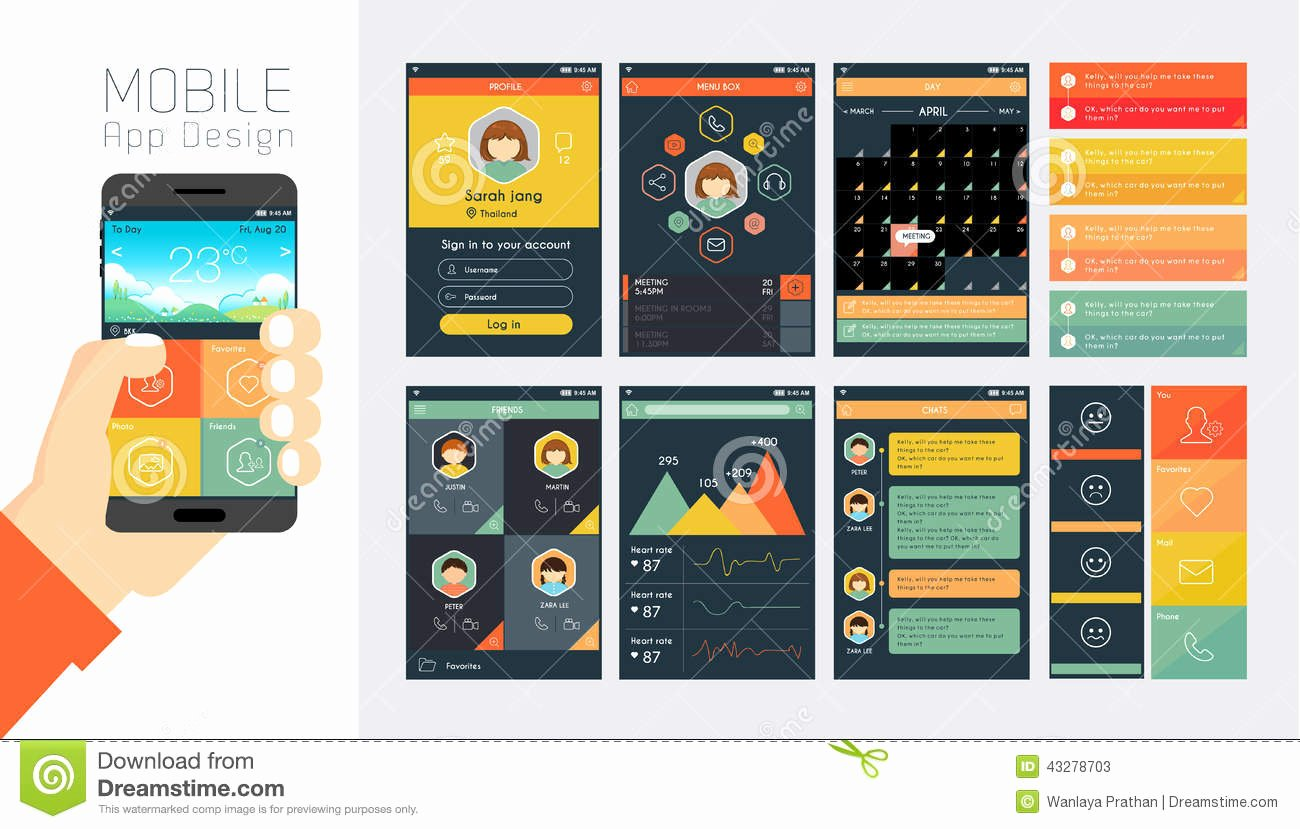 Mobile Apps Design Template Inspirational Template for Mobile App and Website Design Stock Vector