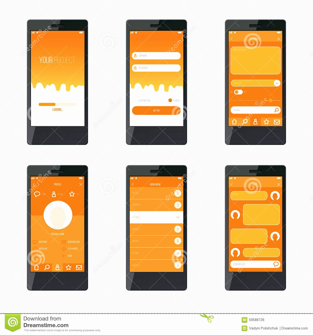 Mobile Apps Design Template Inspirational Template Mobile Application Interface Design Stock Vector