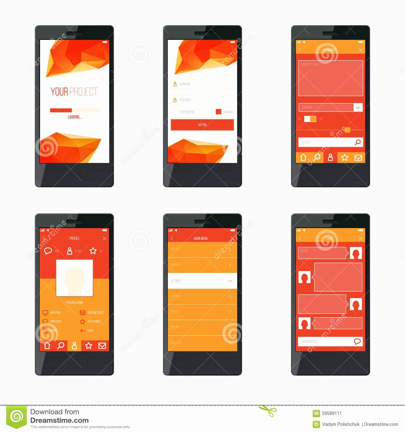 Mobile Apps Design Template Lovely Template Mobile Application Interface Design Stock Vector
