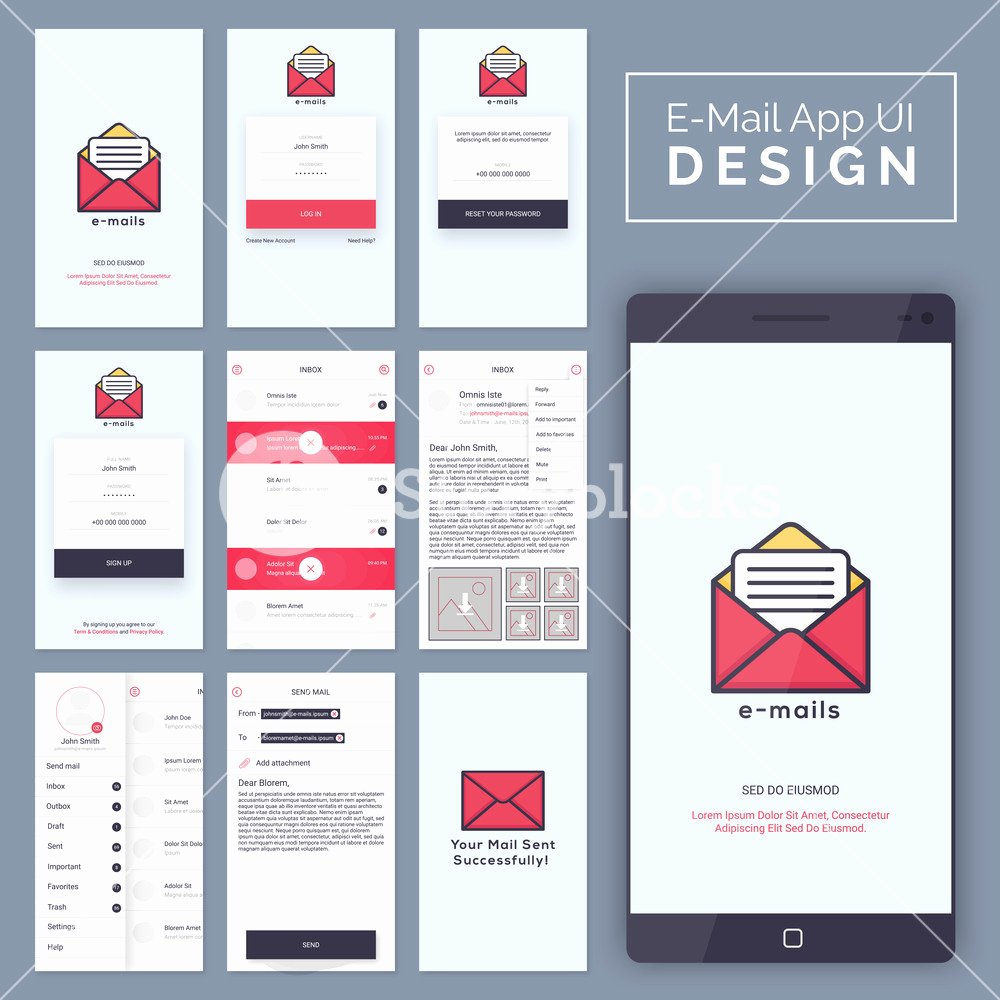 e mail mobile apps material design ui ux and gui template layout with log in reset password sign up inbox send mail and sent confirmation screens for responsive website and e merce bk3vecua6ej1gup82f