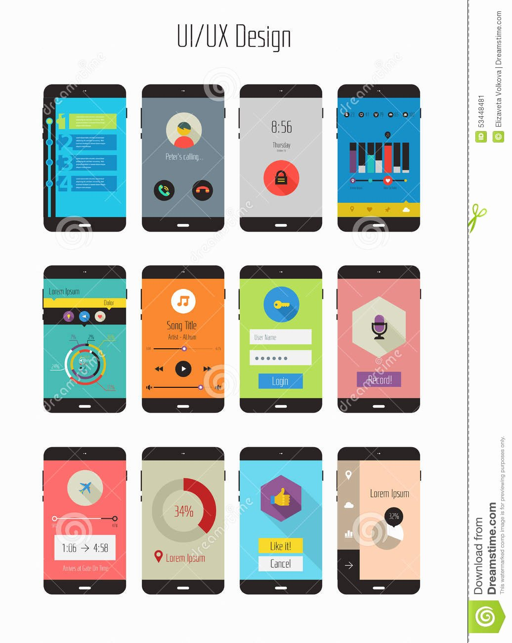 Mobile Apps Design Template Unique Flat Ui Ux Mobile Apps Kit Stock Image Image Of Media