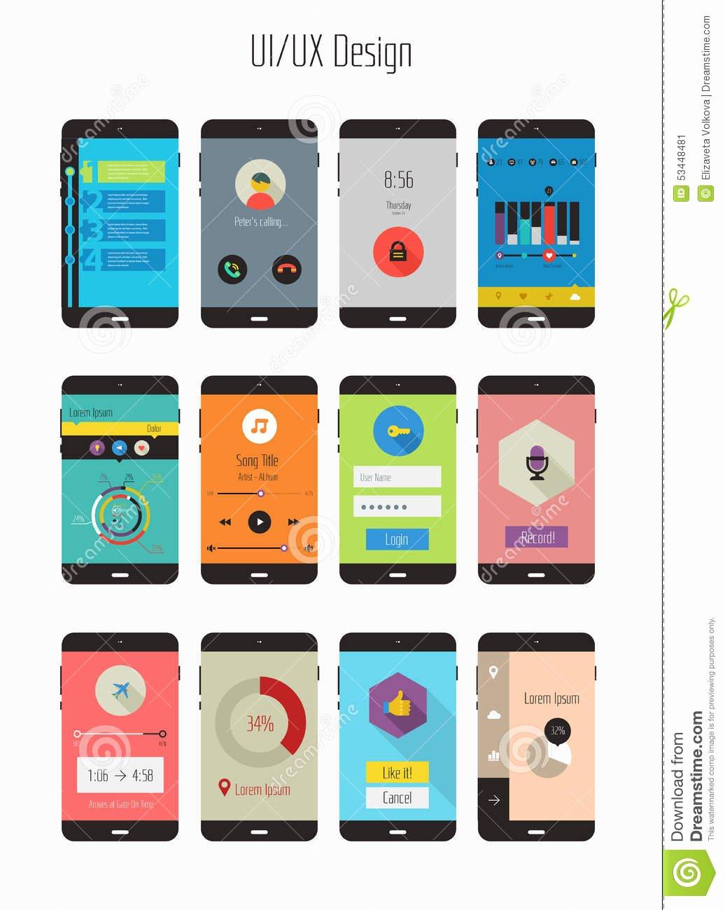 Mobile Apps Design Template Unique Flat Ui Ux Mobile Apps Kit Stock Image Image Of Media