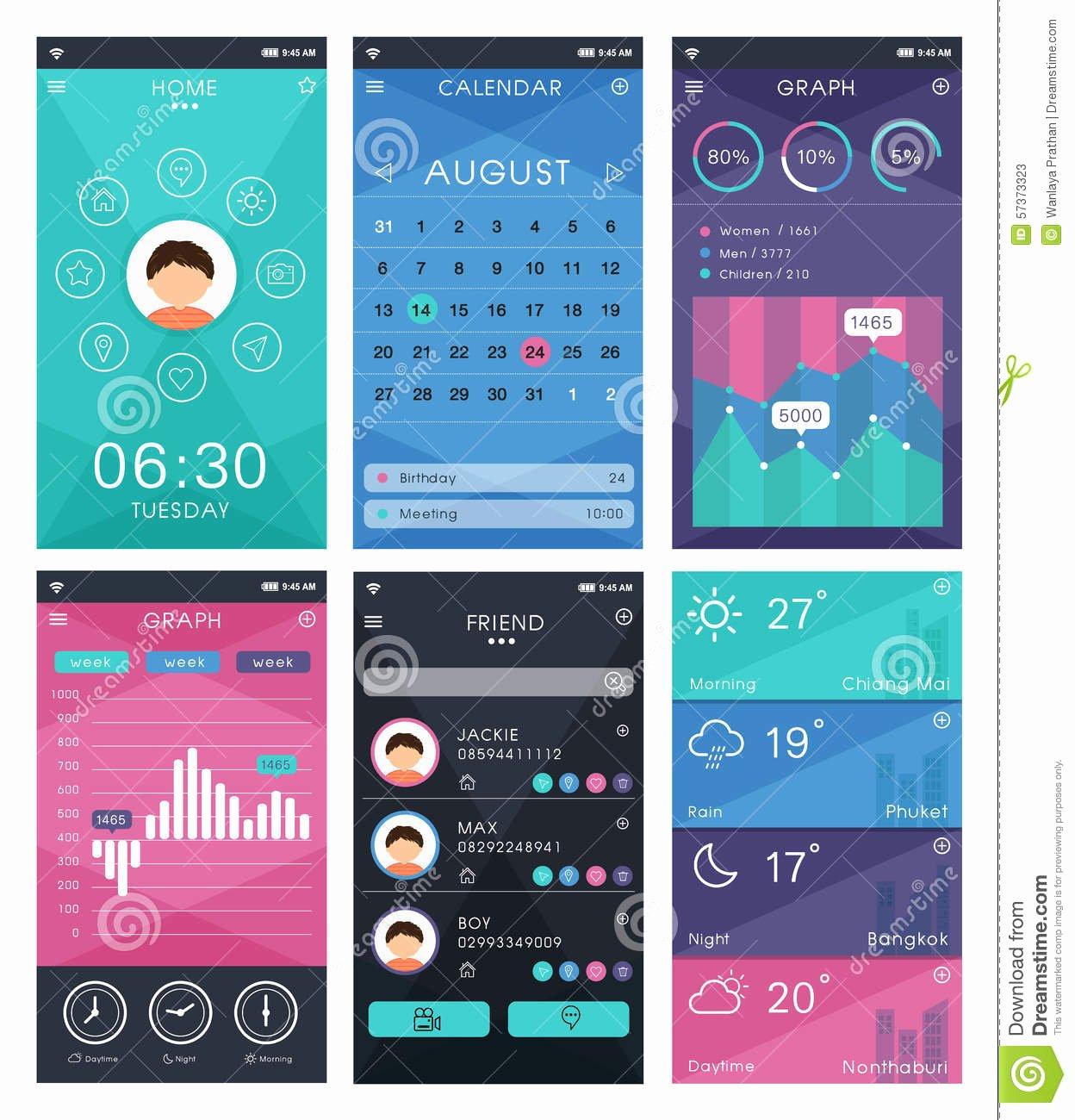 Mobile Apps Design Template Unique Template for Mobile App Design Stock Vector Illustration