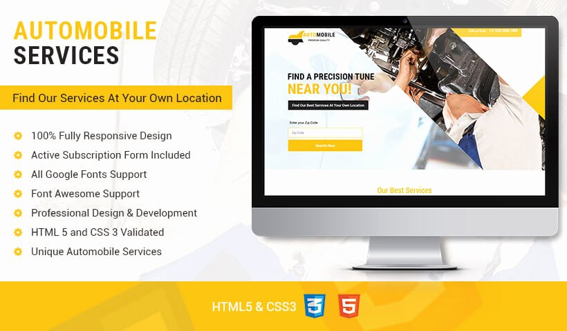 Mobile Landing Page Template Beautiful Lead Gen Responsive Auto Mobile Landing Page Design