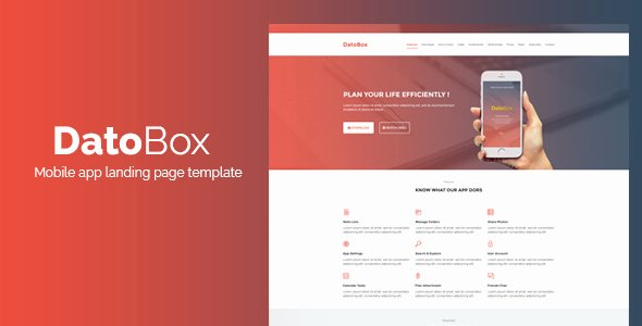 Mobile Landing Page Template Inspirational Datobox Mobile App Landing Page Template by Ghssalem