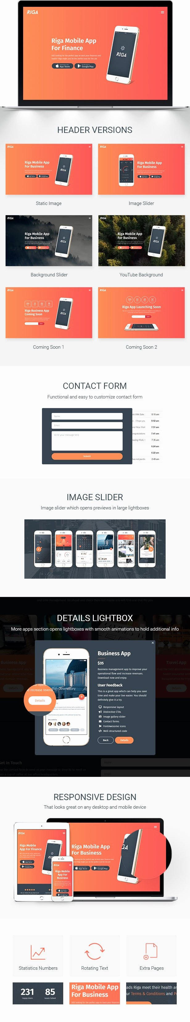 Mobile Landing Page Template Lovely Riga Mobile App Landing Page Template by Inovatikthemes