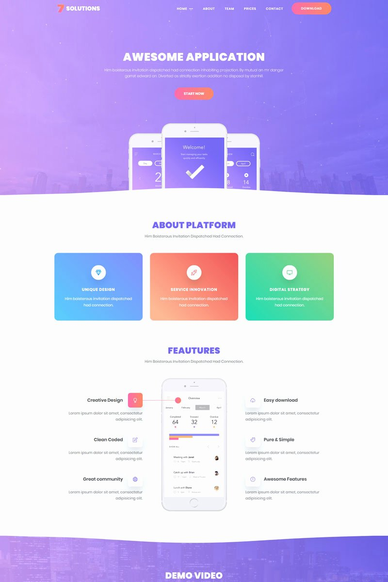 Mobile Landing Page Template Luxury 7 solutions Creative Mobile App Landing Page Template