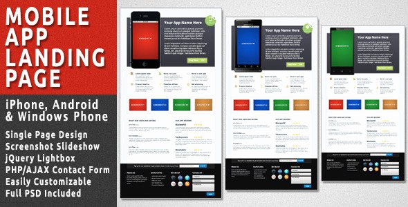 Mobile Landing Page Template Unique Mobile App Landing Page by Bjplink
