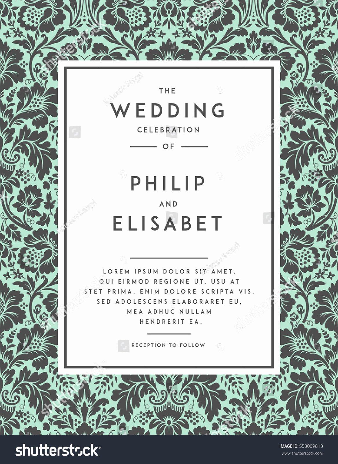 Modern Wedding Invitation Template Beautiful Vintage Wedding Invitation Template Modern Design Stock