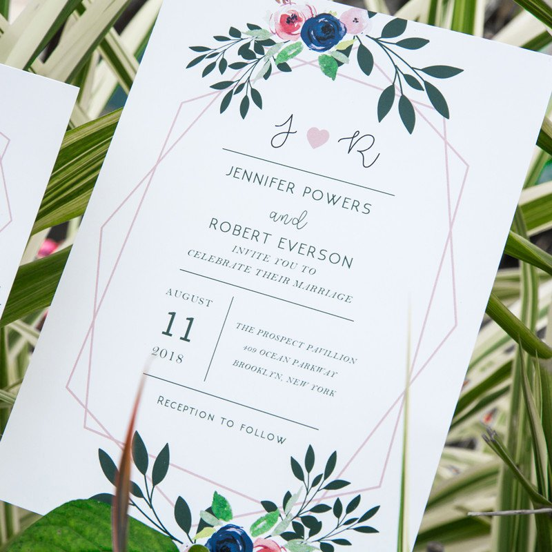 Modern Wedding Invitation Template Elegant Modern Geometric Blush Pink Floral Wedding Invites Ewi425