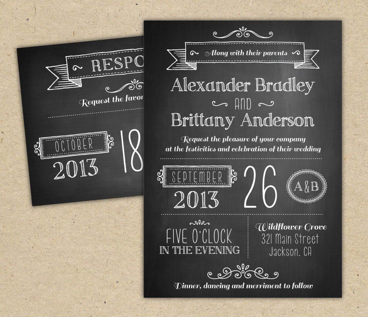 Modern Wedding Invitation Template Fresh Chalkboard Wedding Invitation Modern Invitation Template Diy