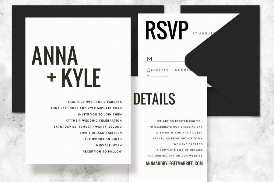 Modern Wedding Invitation Template Fresh Modern Minimalist Printable Wedding Invitation Set