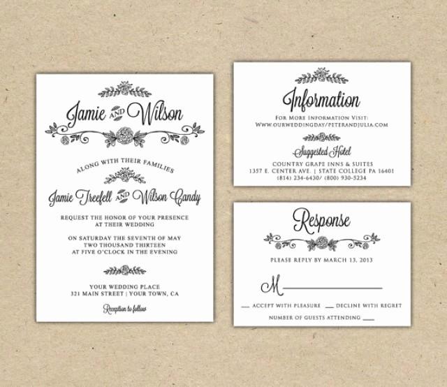 Modern Wedding Invitation Template Lovely Modern Country Chic Wedding Invitation and Rsvp Printable