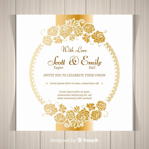 Modern Wedding Invitation Template Lovely Modern Floral Wedding Invitation Template with Golden
