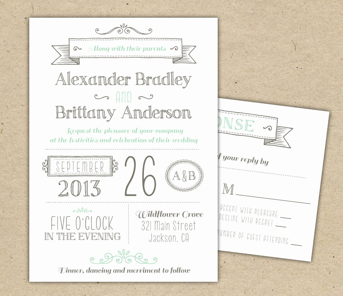 Modern Wedding Invitation Template Lovely Wedding Invitation 1041 Sample Modern Invitation Template