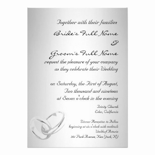 "Modern Wedding Invitation Template New Modern Silver Wedding Invitation Template 5"" X 7"