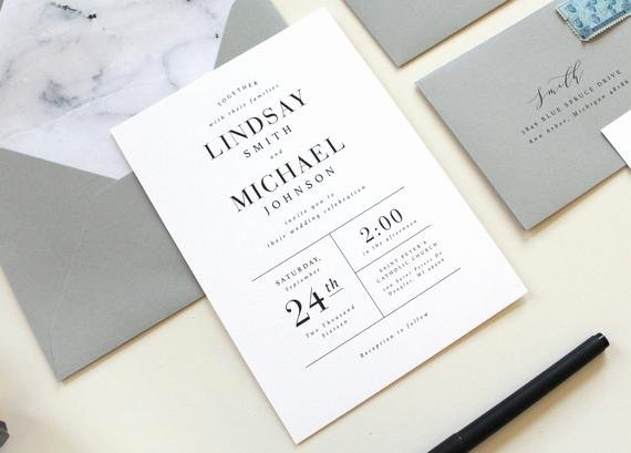 Modern Wedding Invitation Template New Modern Wedding Invitations Modern Marble Wedding Invitation
