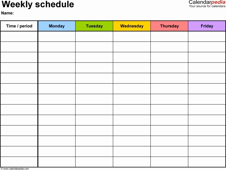 Monday to Friday Schedule Template Beautiful Blank Calendar Template Monday Through Friday 2016 Free