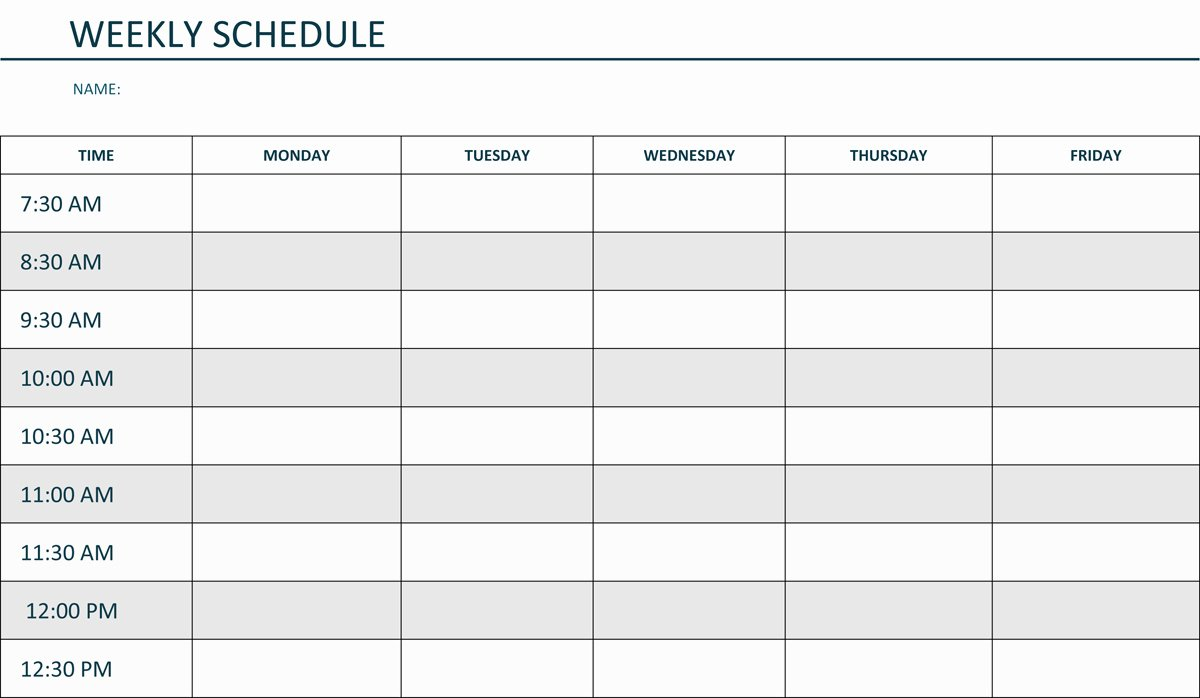Monday to Friday Schedule Template Beautiful Editable Weekly Schedule Template In Word