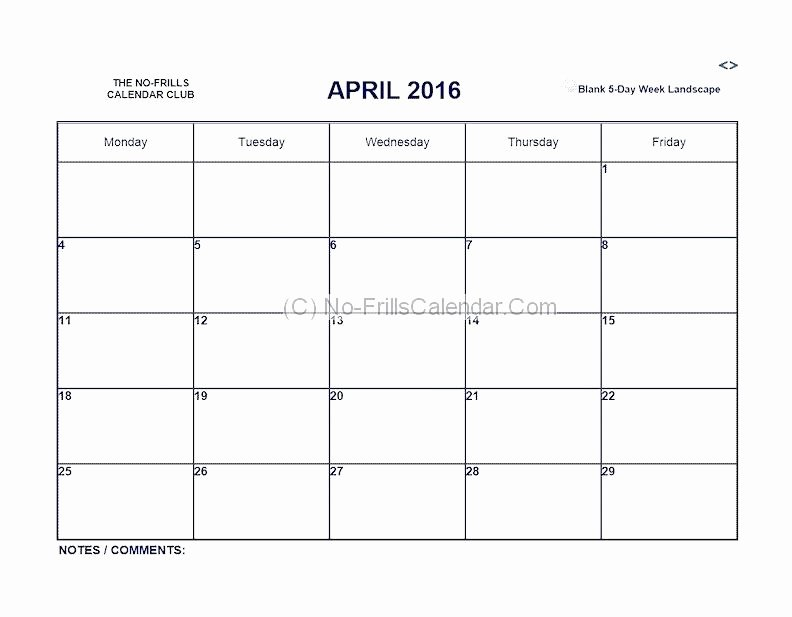 Monday to Friday Schedule Template Best Of Mon Friday Calendar Template Blank Thru Monday Through