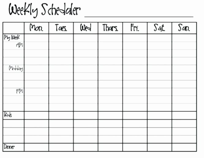 Monday to Friday Schedule Template Best Of Monday Through Sunday Calendar Template Thru Friday