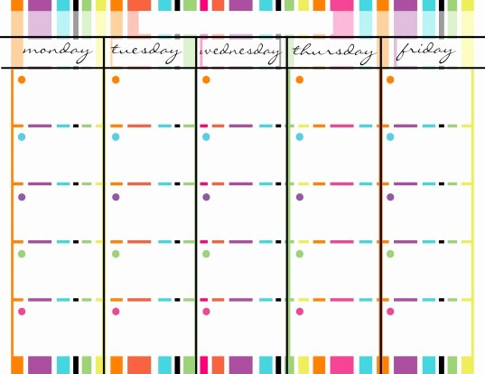 Monday to Friday Schedule Template Best Of Monday Thru Friday Calendar Template