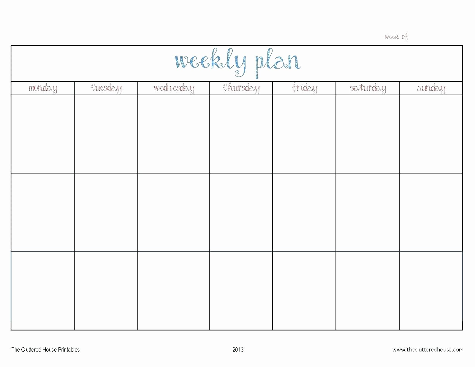 Monday to Friday Schedule Template Best Of Week Calendar Template Monday Friday to Pin On