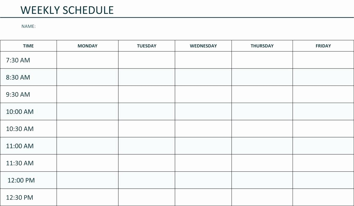 Monday to Friday Schedule Template Elegant Monday to Friday Calendar Template